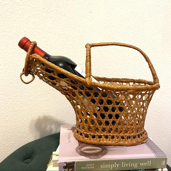 Vintage Wicker Wine Carrier Picnic Basket